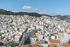 Panoramic cityscape of Kavala,Greece from above stock photos
