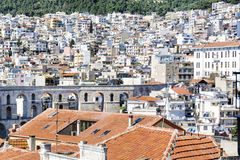 Panoramic cityscape of Kavala,Greece from above royalty free stock photography