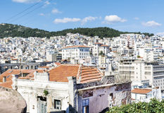 Panoramic cityscape  of Kavala, Greece from above Royalty Free Stock Photo