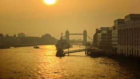Panoramic cityscape of London with Tower Bridge in the morning sunshine stock video footage