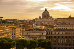 Panoramic cityscape of Rome. Italy. Panoramic view over the historic center of Rome, Italy from Castel Sant Angelo royalty free stock images
