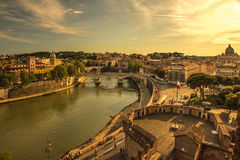 Panoramic cityscape of Rome. Italy. Panoramic view over the historic center of Rome, Italy from Castel Sant Angelo stock photo