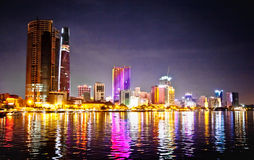 Panoramic cityscape of Saigon at night, Vietnam. Royalty Free Stock Photos