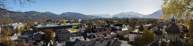 Panoramic cityscape of Salzburg, Austria. Panoramic cityscape of Salzburg,with mountains Stock Photo