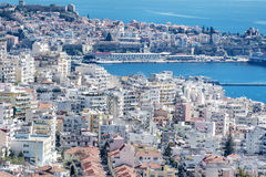 Panoramic cityscape with sea view of Kavala, Greece from above Stock Photography
