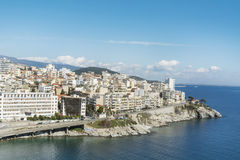 Panoramic cityscape with sea view of Kavala, Greece from above Royalty Free Stock Images