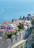 Panoramic cityscape with sea view of Kavala, Greece from above Stock Photos