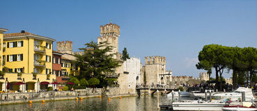 Panoramic cityscape Sirmione, Italy Stock Photo