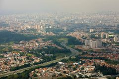 Panoramic cityscape skyline of the Greater Sao Paulo, large metropolitan area located in the Sao Paulo state in Brazil.  stock photography