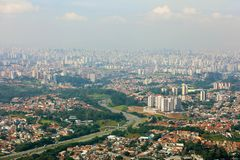 Panoramic cityscape skyline of the Greater Sao Paulo, large metropolitan area located in the Sao Paulo state in Brazil.  stock photos
