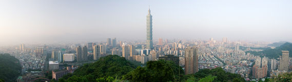 Panoramic cityscape of Taipei skyline Stock Photography