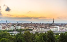 Panoramic cityscape of Turin from above at sunset Stock Image