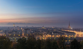Panoramic cityscape of Turin (Torino) from above at dusk Stock Image