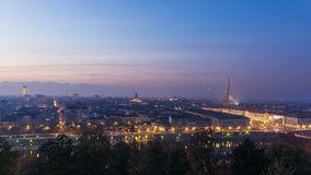 Panoramic cityscape of Turin (Torino) from above at dusk Stock Photo