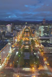 Panoramic cityscape view of southern Sapporo Stock Photo