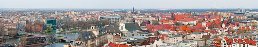 Panoramic cityscape of Wroclaw, Poland Royalty Free Stock Images