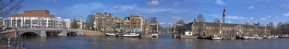 Panoramic cityview Amsterdam. Panoramic cityview with the Stopera and the Amstel in Amsterdam the Netherlands Stock Photos