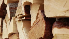 Panoramic Close-up Firewood. Large Pile of Firewood, Camera movement along the slider stock footage