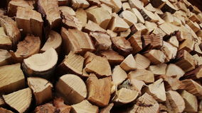 Panoramic Close-up Firewood. Large Pile of Firewood, Camera movement along the slider stock video