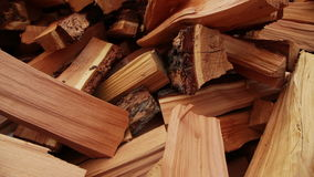 Panoramic Close-up Firewood. Pile of wood, Camera movement along the slider stock footage