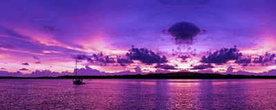A Panoramic cloudy nautical Sunrise Seascape. Australia. stock photography