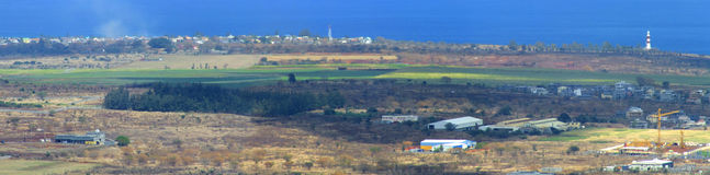Panoramic coast landscape. With lighthouse of Albion in Western Mauritius Royalty Free Stock Images