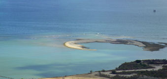 Panoramic coast landscape. View of a small island in low tide in close proximity of Mauritius coast Royalty Free Stock Photos