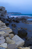 Panoramic coast in the late evening Royalty Free Stock Photo