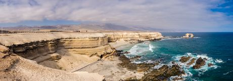 Panoramic of the coast near Antofagasta city in Chile. Panoramic of the coast near Antofagasta city stone arch in Chile stock photos