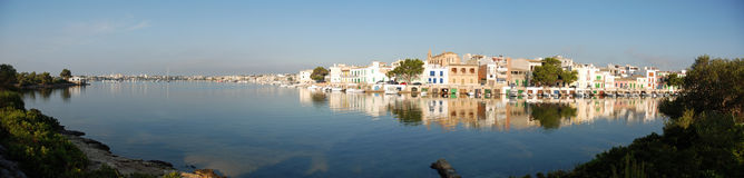 Panoramic Coast Village. Panoramic view of a Coast Village in Majorca Royalty Free Stock Photos