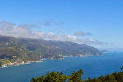 Panoramic coastline on Cinque Terre of Liguria in the north of Italy stock images