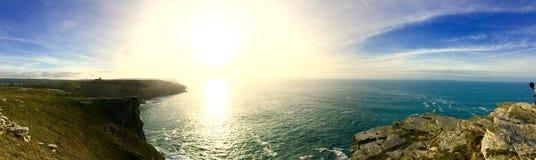Panoramic coastline Cornwall Stock Photo