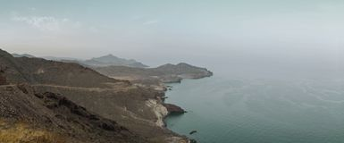 Panoramic of the coasts of Cabo de Gata. Panoramic view of the coasts of Cabo de Gata royalty free stock photography