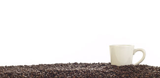 Panoramic of coffee cup and whole beans Royalty Free Stock Photo