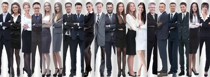 Panoramic collage of groups of successful employees. stock image
