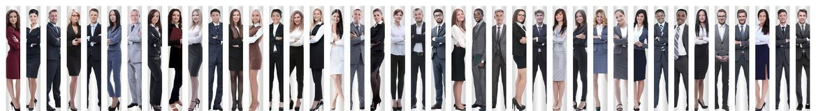 Panoramic collage of a large and successful business team royalty free stock photo