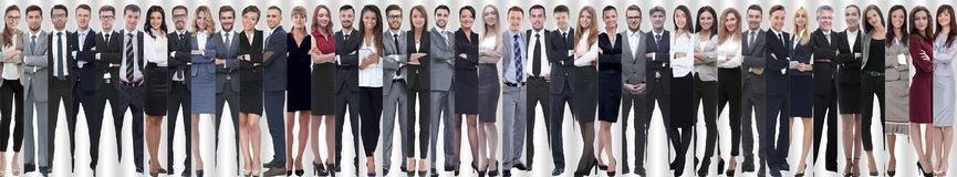 Panoramic collage of a large and successful business team stock image