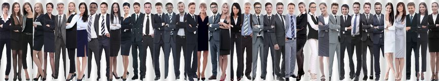 Panoramic collage of a large and successful business team stock images