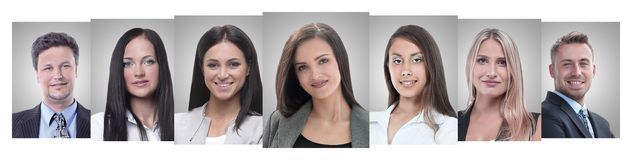 Panoramic collage of portraits of young entrepreneurs. Business concept stock photography