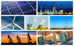 Panoramic collage of Power and energy concepts and products royalty free stock photography