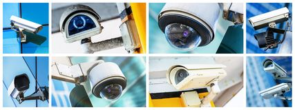 Panoramic collage of security CCTV camera or surveillance system. Panoramic collage of closeup security CCTV camera or surveillance system Royalty Free Stock Photo