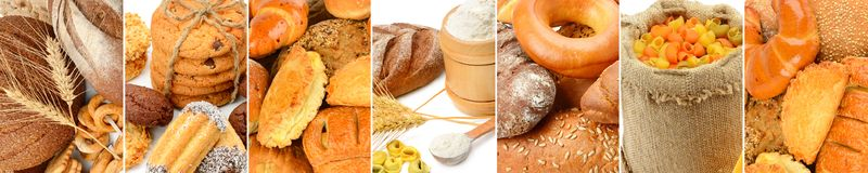 Panoramic collage set of bread products. Wide photo Stock Photo