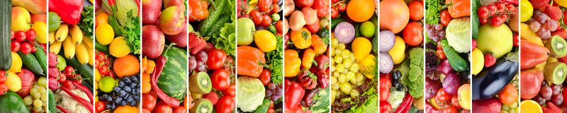 Panoramic collage vegetables, fruits and berries separated vertical lines royalty free stock images