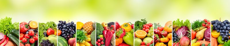 Panoramic collage vegetables and fruits on green background. Royalty Free Stock Photo