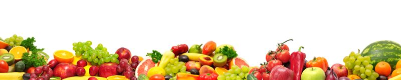 Panoramic collection fresh fruits and vegetables for skinali iso. Lated on white background Stock Photos