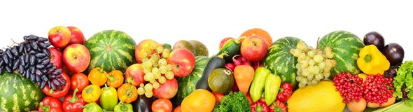 Panoramic collection fresh fruits and vegetables for skinali iso. Lated on white background. Top view. Copy space Stock Photos