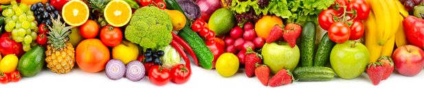 Panoramic collection fresh fruits and vegetables for skinali iso stock images