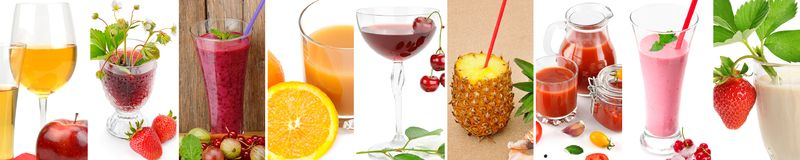 Panoramic collection fresh juice from fruit and vegetables in th. E glass isolated on white background. Collage. Wide photo. Collage. Wide photo stock images