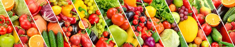 Panoramic collection fruits and vegetables separated oblique str. Panoramic collection fresh ts and vegetables separated oblique stripes Stock Photography