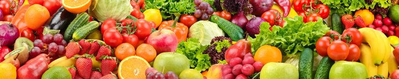 Panoramic collection healthy fruits and vegetables. Panoramic collection fresh healthy fruits and vegetables Stock Photos